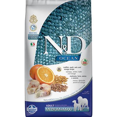 N&D Ocean Adult Medium Maxi Merluzzo e Arancia